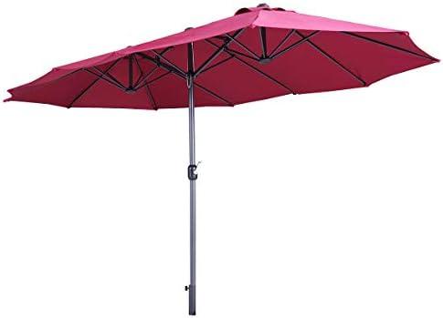 Sandinrayli 15 Ft Hanging Umbrella Patio Sun Shade Offset Outdoor Market Burgundy Garden Umbrella with Crank Tilt