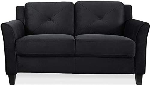 BOWERY HILL Microfiber Loveseat Couch in Black
