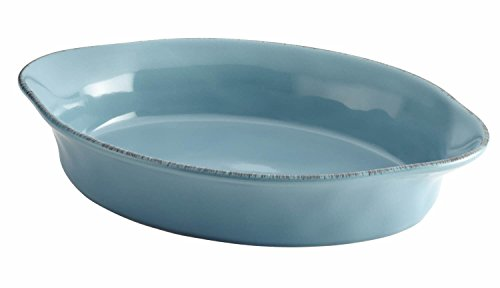 Rachael Ray Cucina Stoneware 2-Quart Oval Baker, Agave Blue