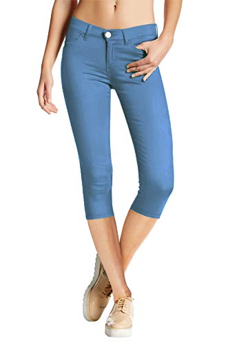 Womens Super Stretch Comfy Skinny Pants Q44876X Powder BLU 2X