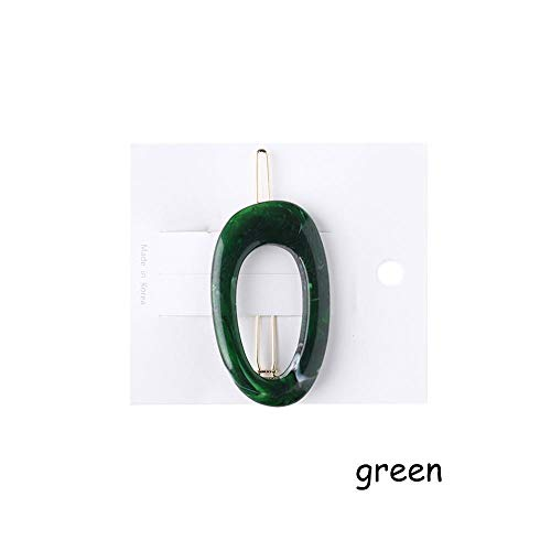 1PC Vintage Japan Style Acrylic Resin Hairpins Hollow Geometric Oval Hair Clips Hairgrip Women Fashion Hair Styling Accessories Green One Size