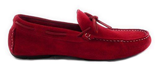 Zerimar Scarpe in Pelle da Uomo Scarpe Stringate Basse Scarpe da Uomo Colore Rosso Taglia 45