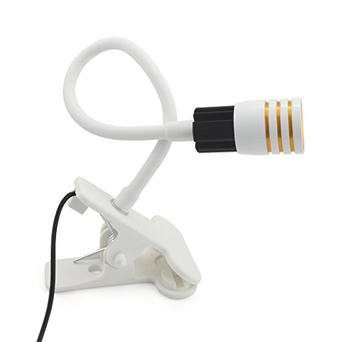 iKKEGOL USB Flexible Neck Headboard Light Reading Book Desk Lamp with Clip and On/off Switch (White)