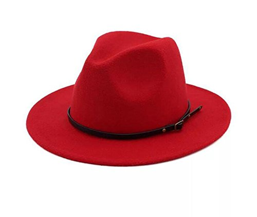 Wool Hat Brim Red Large (Lanzom Womens Classic Wide Brim Floppy Panama Hat Belt Buckle Wool Fedora Hat (One Size, Red))