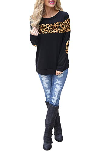 (Blooming Jelly Women's Color Block Cheetah Shirt Elbow Patches Pullover Crewneck Sweatshirt Top (X-Large, Cheetah))