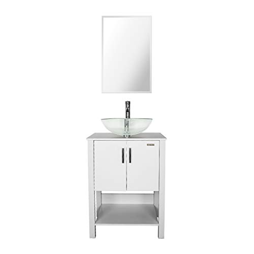 - eclife 24'' Bathroom Vanity Sink Combo White Cabinet Round Frosted Tempered Glass Vessel Sink & 1.5 GPM Water Save Faucet & Solid Brass Pop Up Drain, With Mirror (A16B12W)