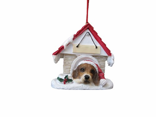"Beagle Ornament A Great Gift For Beagle Owners Hand Painted and Easily Personalized ""Doghouse Ornament"" With Magnetic Back"