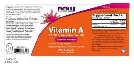 Now Foods Vitamin A, 25000 IU from Fish liver oil, 250 Softgels (Pack of 2) by NOW Foods