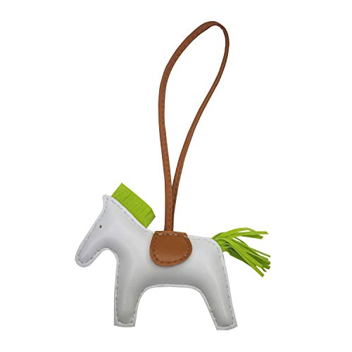 (Rodeo Bag Charm for Women Purse Charm Horse Leather Keychain Handbag Accessories (whitebrown) )