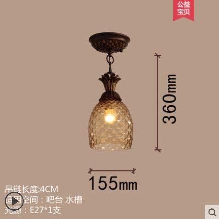 (Pineapple lamp American Single Head Family Bedroom Home Bedside Table Chandelier Rural Pastoral Sink Chandelier)