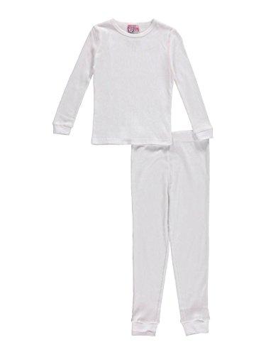 SWEET N SASSY Big Girls' 2-Piece Thermal Long Underwear Set - White, (2 Piece Waffle Thermal Underwear)