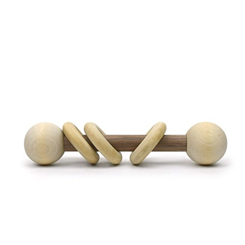Little Sapling Toys Baby Rattle Toy Wooden (Walnut & Maple) - Maple Baby Crib