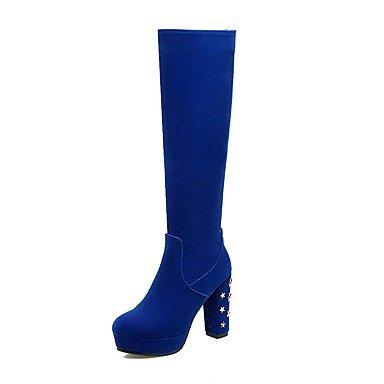 RTRY Zapatos de mujer Cuero de Nubuck Otoño Invierno pelusas comodidad Forro Fashion botas botas Chunky talón puntera redonda rodilla botas altas de cremallera US8 / EU39 / UK6 / CN39