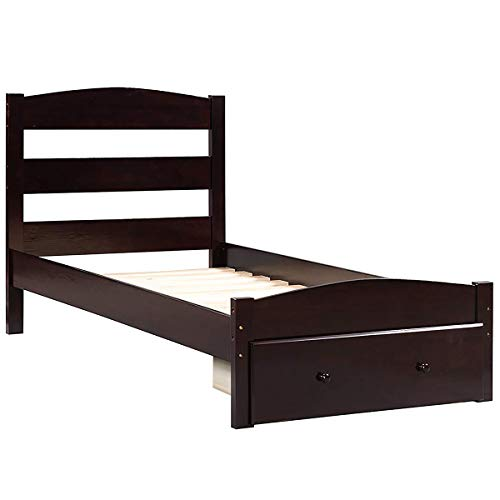 (Merax. WF186776 Platform Twin Bed Wood Frame with Storage/Headboard/Wooden Slat Support (Espresso))