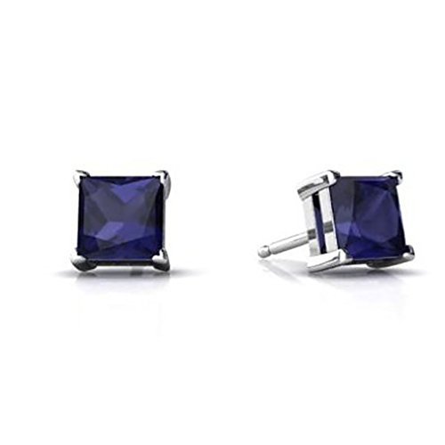 Stud Earring Princess Cut Simulated Blue Sapphire 925 Sterling Silver