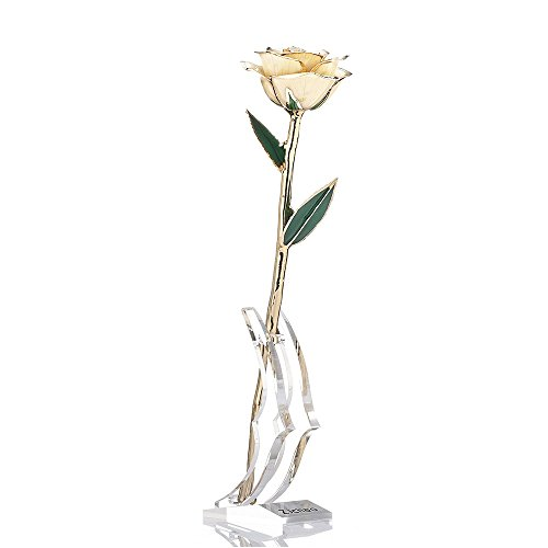 Gold Box Jewelry Floral (ZJchao Gifts for Women, Long Stem Dipped 24k Gold Trim White Rose in Gift Box with Display Stand Best Gift for Valentines/Mothers/Anniversary/Birthday/Galentine's Day(White))
