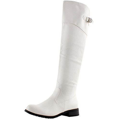 White Knee Boots (West Blvd Taipeiv2.0 Riding Boots, White Pu, 8.5)