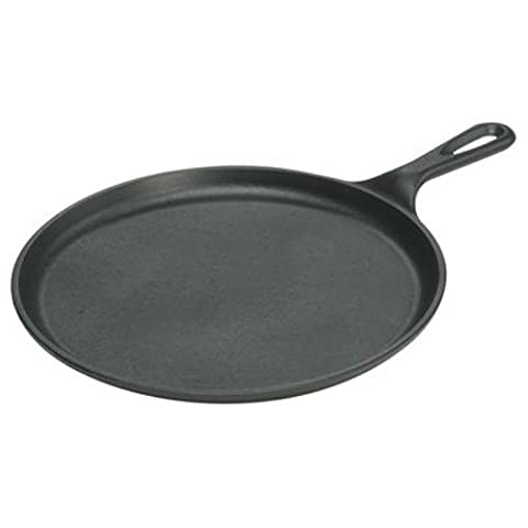 Lodge L9OG3 Cast Iron Round Griddle, Pre-Seasoned, 10.5-inch