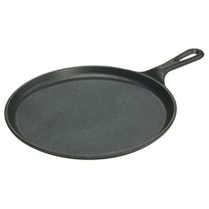 Lodge L9OG3 Cast Iron Round Griddle Pre-Seasoned 105-inch