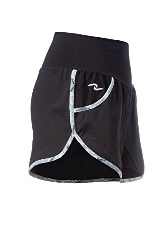 Naffta Active SH7, Pantalón Corto Para Mujer Multicolor (Negro/Gris Ceniza 705)