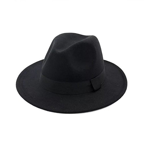 Lanzom Women Wide Brim Straw Wool Fedora Hat Retro Style Belt Panama Hat (Black, One Size) - Straw Retro Hat