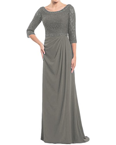 Dydsz Women's Long Mother of The Bride Dresses Evening Dress with Sleeves Chiffon D246 Grey 12