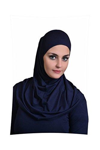 Al Ameera Muslim Hijab Cotton Amira 2 piece Hood & Hijab Tube Underscarf Cap (Navy Blue) ()