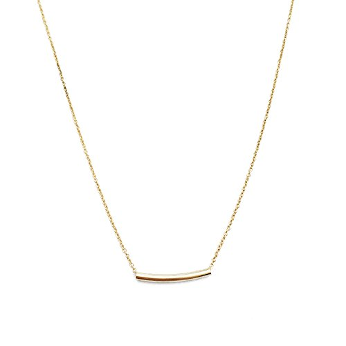 HONEYCAT 24k Gold Classic Curved Horizontal Tube Bar Necklace | Minimalist, Delicate Jewelry (Tube Necklace)