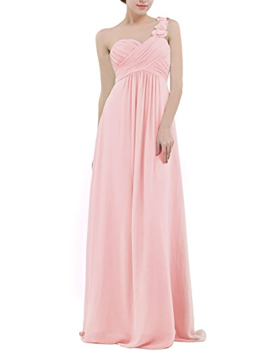 YiZYiF Chiffon Applique One Shoulder Long Bridesmaids Party Dress Pearl Pink ()