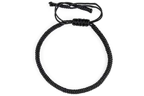 Dowling Brothers One Tibetan Monk Lucky Minimal Rope Buddhist Handmade Knot Bracelet ... (Black)
