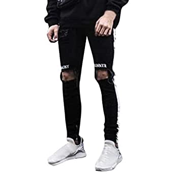 256c8bd7abe0e1 Image Unavailable. Image not available for. Color: Side Stripe Biker Jeans  for Men, Teen Boy Washed Distressed Destroyed Skinny Jeans Stretchy Holes