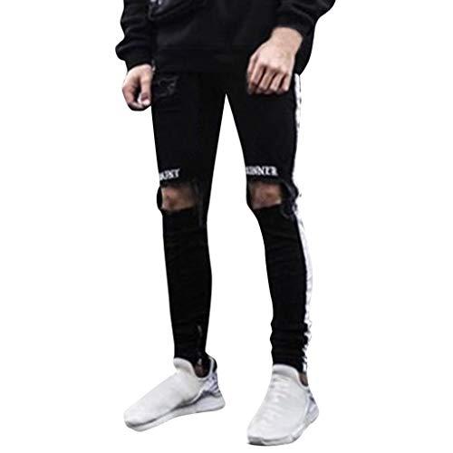 Side Stripe Biker Jeans for Men, Teen Boy Washed Distressed Destroyed Skinny Jeans Stretchy Holes Ripped Denim Pants (Black, US:36)