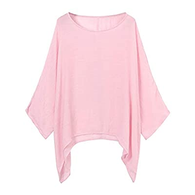 Aunimeifly Womens Cotton Linen Tunic Solid Color Tops Ladies Casual T-Shirt 3/4 Sleeve Shirts Plus Size Loose Blouse: Clothing