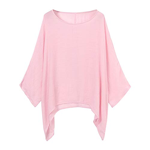 Red Ta Women Autumn Cotton Linen Long Sleeve Pullover Shirt,Ladies Casual Crew Neck Loose Top Blouse Tunic Pink - Essential Draped Top