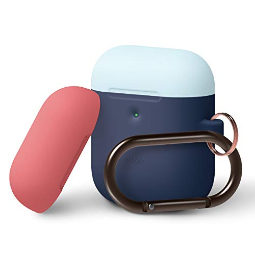 elago A2 Duo Hang Case [Body-Jean Indigo/Top-Pastel Blue, Italian Rose] - [Front LED Visible][Supports Wireless Charging][Extra Protection][Added Carabiner] - for AirPods 2 Wireless Charging Case ()
