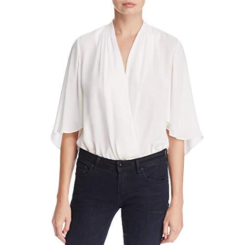 Elie Tahari Womens Porter Silk Drapey Bodysuit Ivory L - Tahari Silk Suit