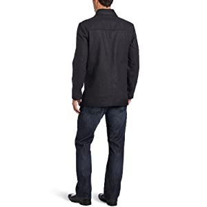 Kenneth Cole Men's Peacoat With Bib Outerwear, Charcoal, X-Large