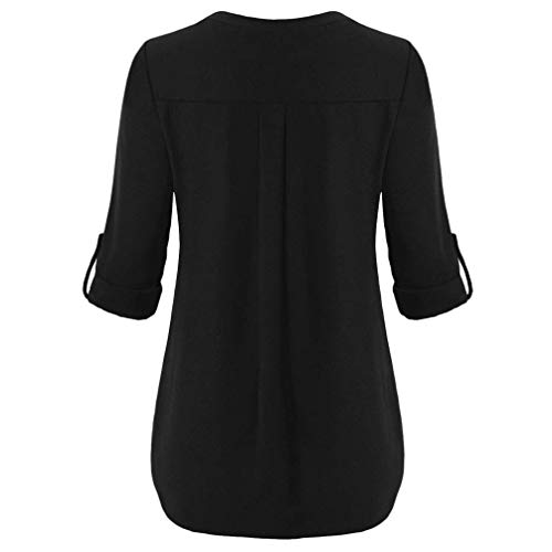 Chemisier Manches Col Femme Noir Avant Dcontracte Chemisier en Bouton Nou Top Longues Roll Up Blouse Innerternet V EqSBdWnzq