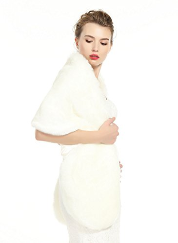 BEAUTELICATE Women's Faux Fur Shawl Stoles Wrap for Bridal/Wedding/Party-S62 Ivory