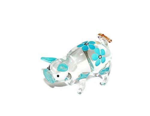 Blown Pig Glass (Dollhouse Miniatures Hand Blown Art Blue Cute Pig Flower FIGURINE Animals Decor)