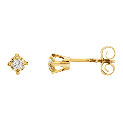 Girl's Diamond Solitaire Stud Earrings, 14k Yellow Gold (.06 Cttw, GI Color, I3 Clarity) by The Men's Jewelry Store (for KIDS)
