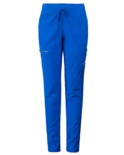 MG Superflex Women's Stretch Activewear Scrub Pant Tapered Leg Jogger (L, Royal)