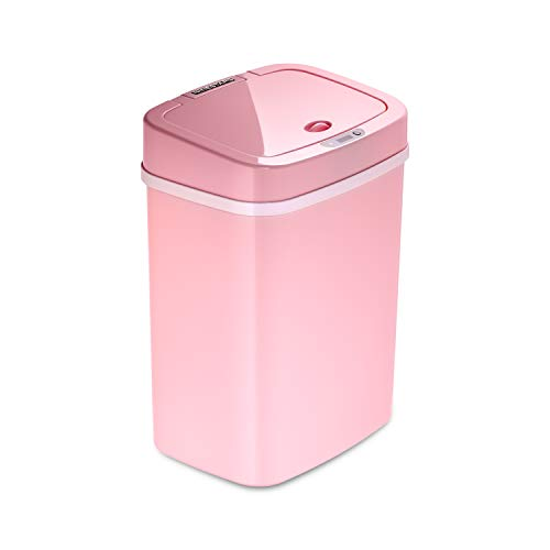 Ninestars DZT-12-5PK Bedroom or Bathroom Automatic Touchless Infrared Motion Sensor Trash Can, 3 Gal 12 L, ABS Plastic (Rectangular, Pink) Trashcan (Pink Trash Can With Lid)