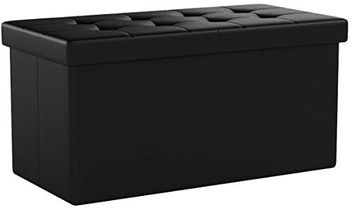 SONGMICS 30 Inches Folding Storage Ottoman Bench with Flipping Lid, Storage Chest Footstool, Faux Leather, Black ULSF45BK