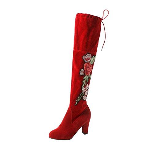 Stretch Slim Stiefel High Stiefel über Knie Stiefel High Heels Stiefel, OVERMAL Damen Lang Stiefel Rosenstickerei Rot