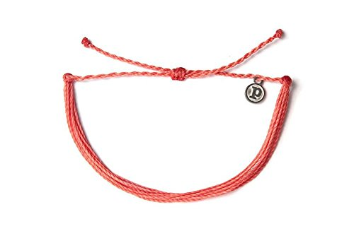 Pura Vida Solid Coral Bracelet - Handcrafted with Iron-Coated Copper Charm - Wax-Coated, 100% Waterproof from Pura Vida