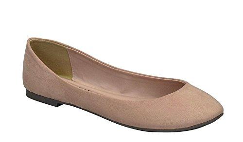 Breckelles Womens Pointed Toe Slip On Ballet Flats Natural Ts da9y7