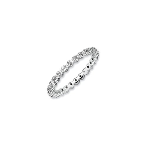 2.25mm Stackable White Topaz and .04Ctw HI/I3 Diamond Silver Band Sz 8 (Eternity Topaz Bands)