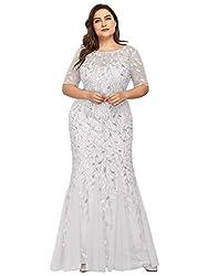 Plus Size Embroidery & Sequins White Colour Maxi Dress