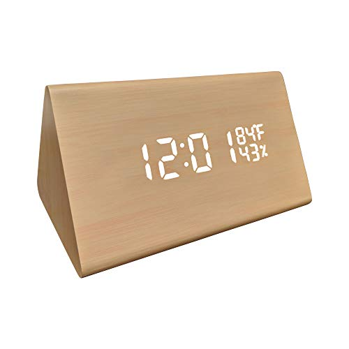 (gbHome GH-6843 LED Faux Wood Digital Alarm Clock, Portable LED Desk Clock with USB Charger, Displays Time & Temperature, Adjustable Brightness, 3 Alarms and Optional Sound Activated Display )